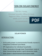 Presentation on Solar Energy by Shri B. K. Panda