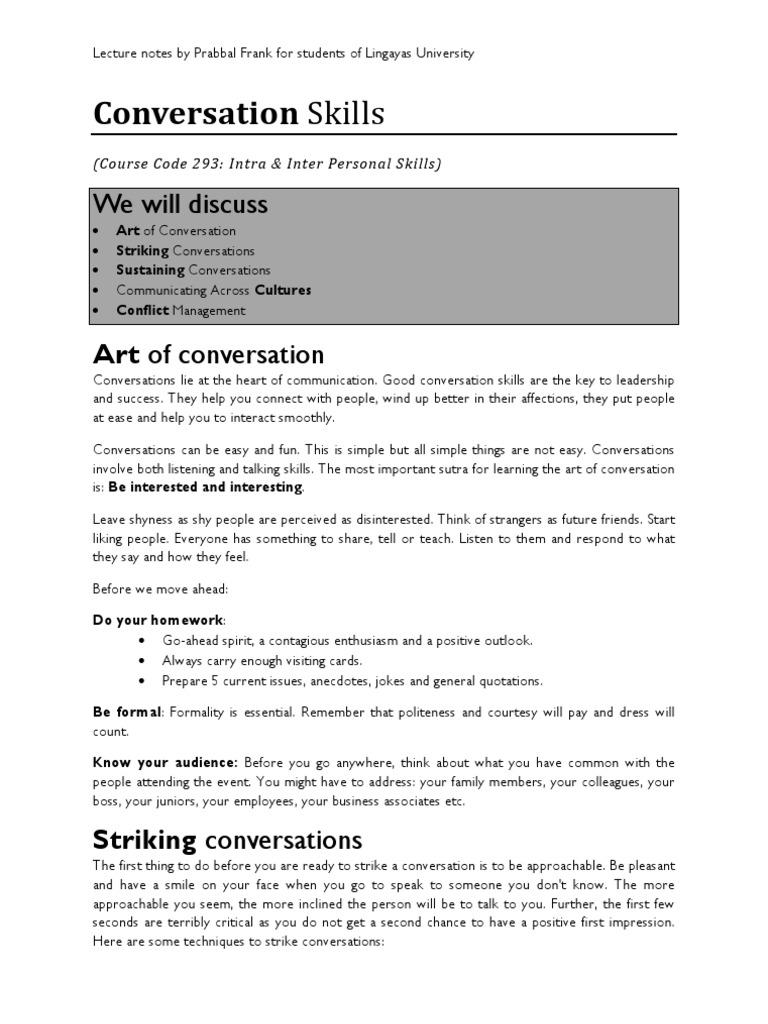 Conversation Skills | Cross Cultural Communication
