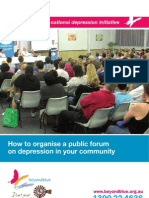Depression - How to Organise a Public Forum Iin Your Community