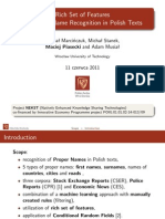 Rich Set of Features for Proper Name Recognition in Polish Texts - presentation