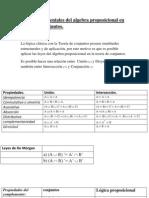 Leyes fundamentales del algebra proposicional en Teoría de conjuntos