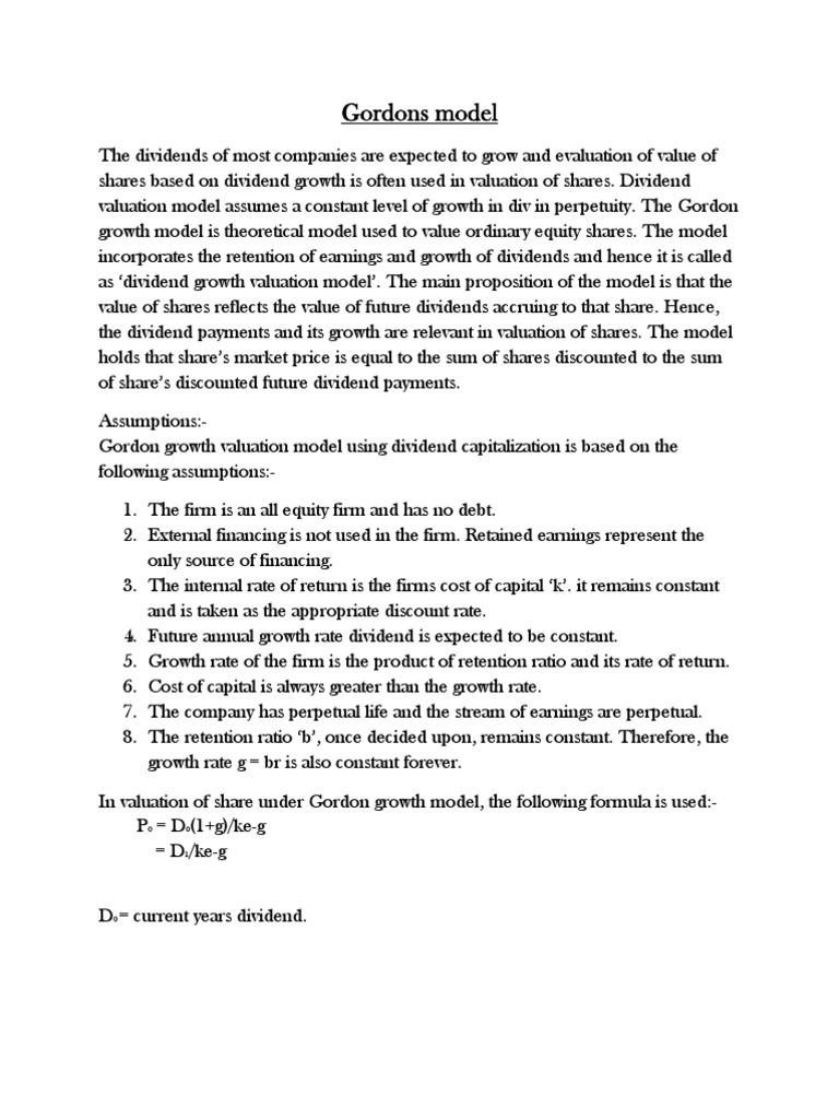 Gordons Model Cost Of Capital Valuation Finance