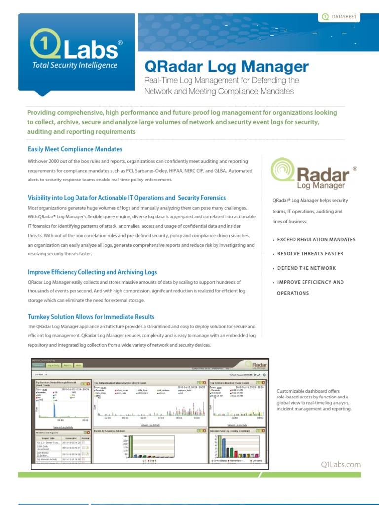 QRadar Log Manager Data Sheet | Computer Network