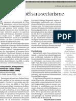 Palestine-Israël sans sectarisme,  Le Monde 2 novembre 2011