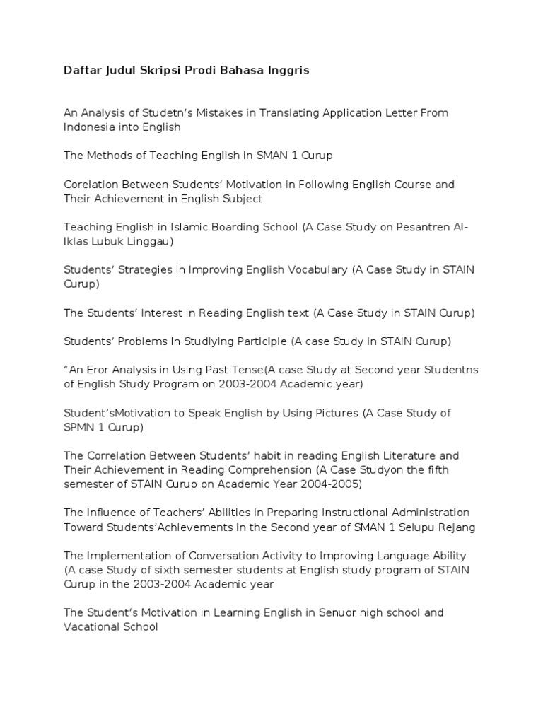 Daftar Judul Skripsi Prodi Bahasa Inggris English Language Vocabulary