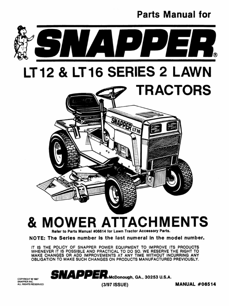 Snapper LT12 Parts Manual