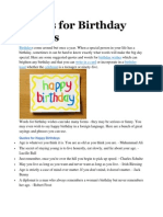 Words for Birthday Wishes