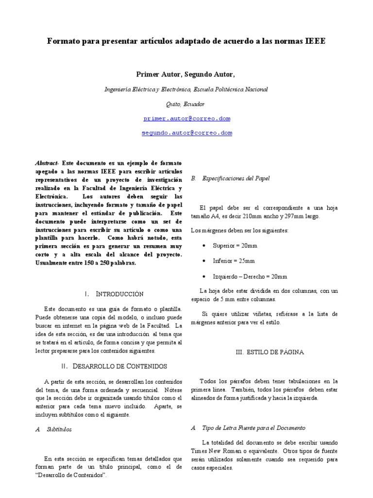 Excelente Ieee Plantilla De Formato De Papel Bosquejo - Colección De ...