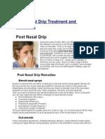 Post Nasal Drip Treatment and Remedies