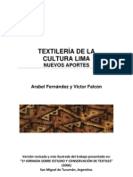 TEXTILERIA DE LA CULTURA LIMA. NUEVOS APORTES
