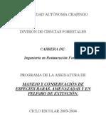 MANEJO Y CONSERVACION DE ESPECIES RARAS