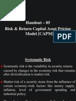 Risk & Return - Capital Asset Pricing Model [CAPM]
