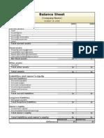 One Month Balance Sheet