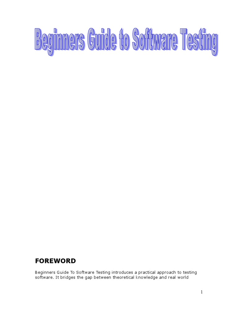 beginners guide to software testing software testing software bug rh scribd com Software Testing Humor beginners guide to software testing pdf