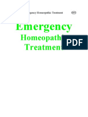 Emergency Homeopathic Treatment | Homeopathy