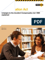 Changes to the Accident Compensation Act 1985