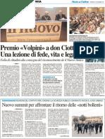 """Premio """"Volpini"""" a Don Ciotti - Il Resto del Carlino del 4 novembre 2011"""