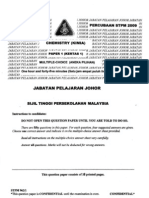 STPM Trials 2009 Chemistry Paper 1 (Johor)