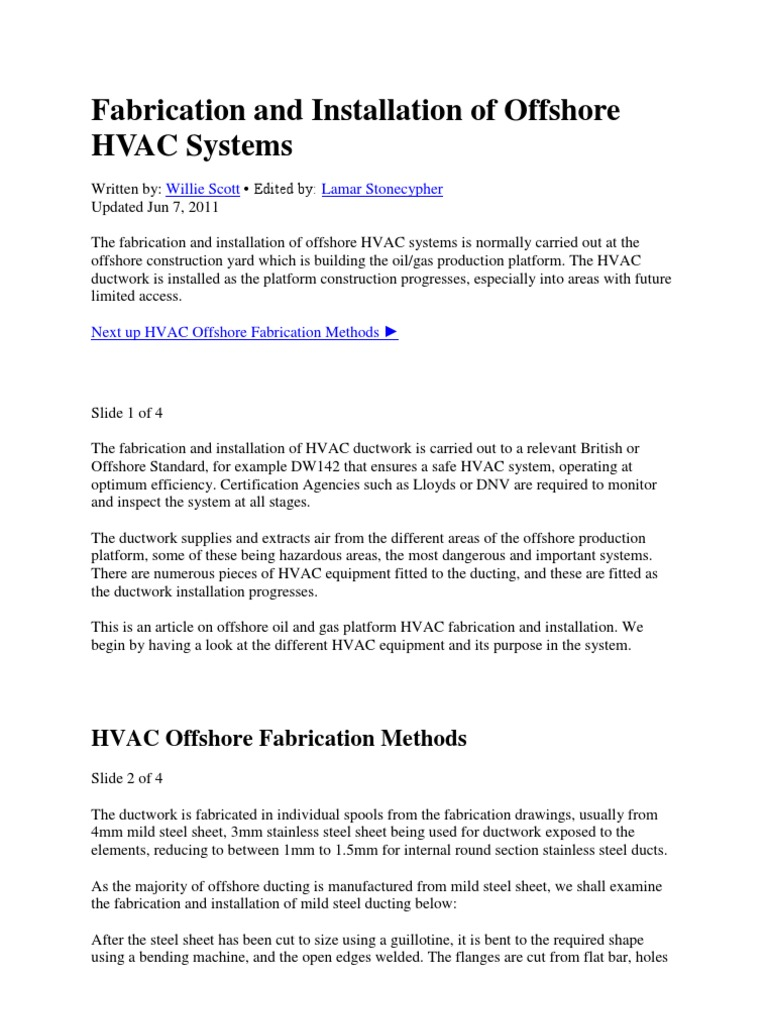 Fabrication And Installation Of Offshore Hvac Systems Duct Flow Drawing