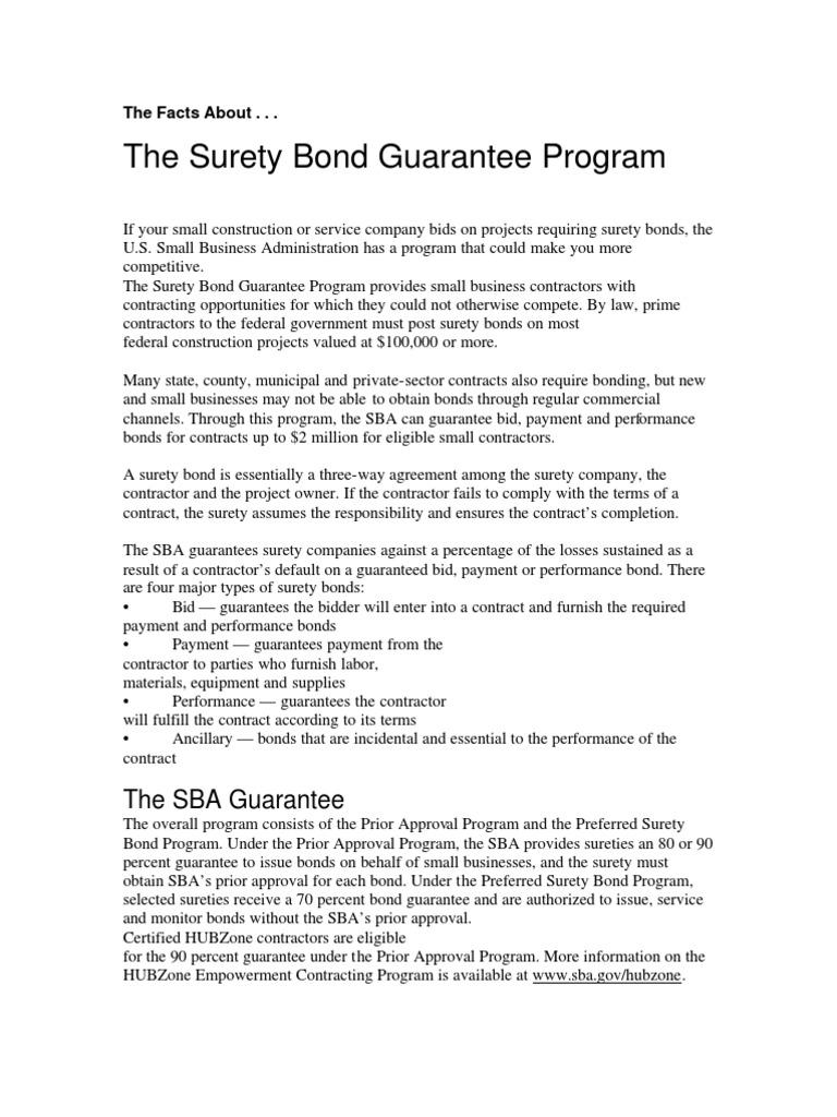 The Surety Bond Guatantee Program Surety Bond Guarantee