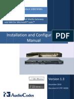 LTRT-18206 Audio Codes Enhanced Media Gateway and SBA for Microsoft Lync Installation and Configuration Manual
