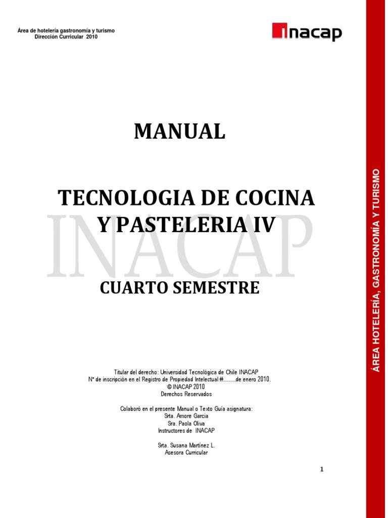 Tecnología de cocina y pastelería IV