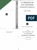 Jaeger, Werner - La teología de los primeros filósofos griegos [1947]