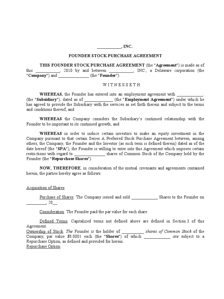 Founder Purchase AgreementTemplate1 – Stock Purchase Agreement Template