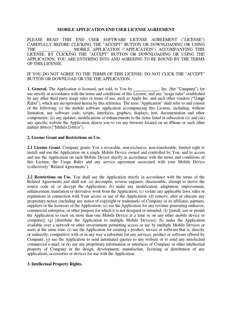 Mobile Application End User License Agreement Template 1 – Sample Software License Agreement