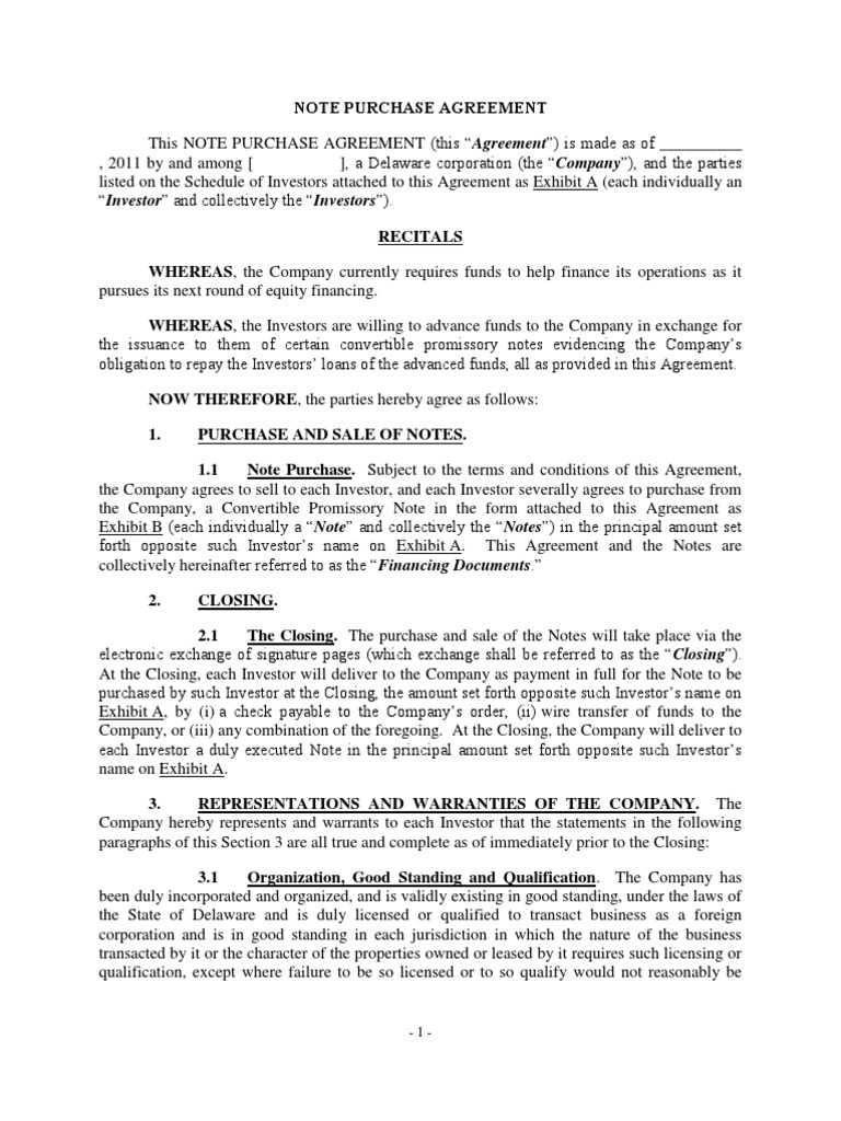 Note Purchase Agreement Template 1