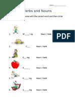 Verbs and Nouns Worksheet
