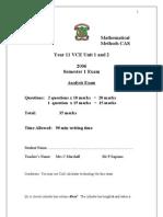 Mathematical Methods CAS Exam 2