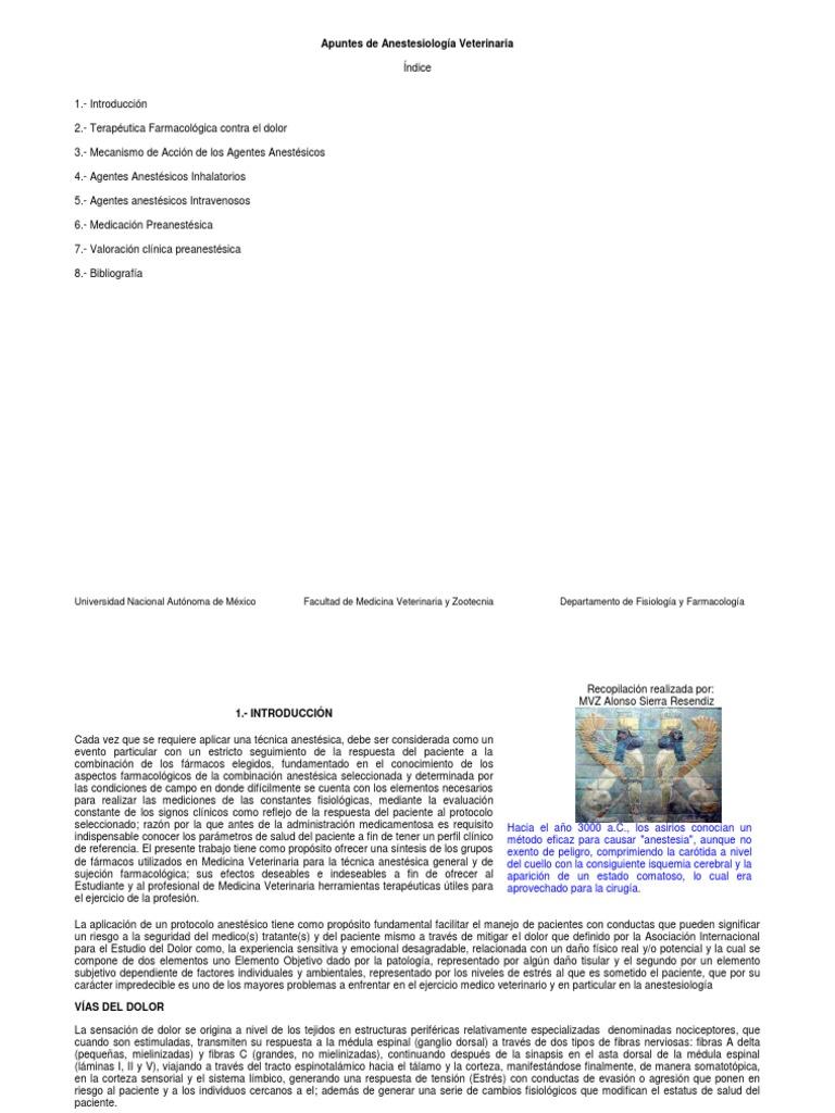 Apuntes de Anesteiologia Veterinaria