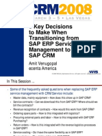 8 Key Decisions Transition ERP SM SAP CRM