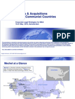 Mergers & Acquisitions in Post Communist Countries