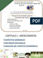 Proyecto de Inversion Para La Provincia de Canas