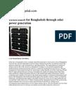 Green Future for Bangladesh Through Solar Power Generation