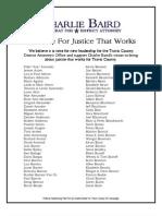 Charlie Baird Supporter List, Updated 11/3/2011