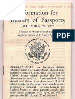 1952/1953. Information for Bearers of Passports (December 24, 1952), issued by the Passport Office, Department of State, printed by the US Government Printing Office. Mary Catherine Bergamo.