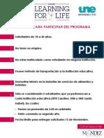 "Requisitos para participar en ""Learning for Life"""