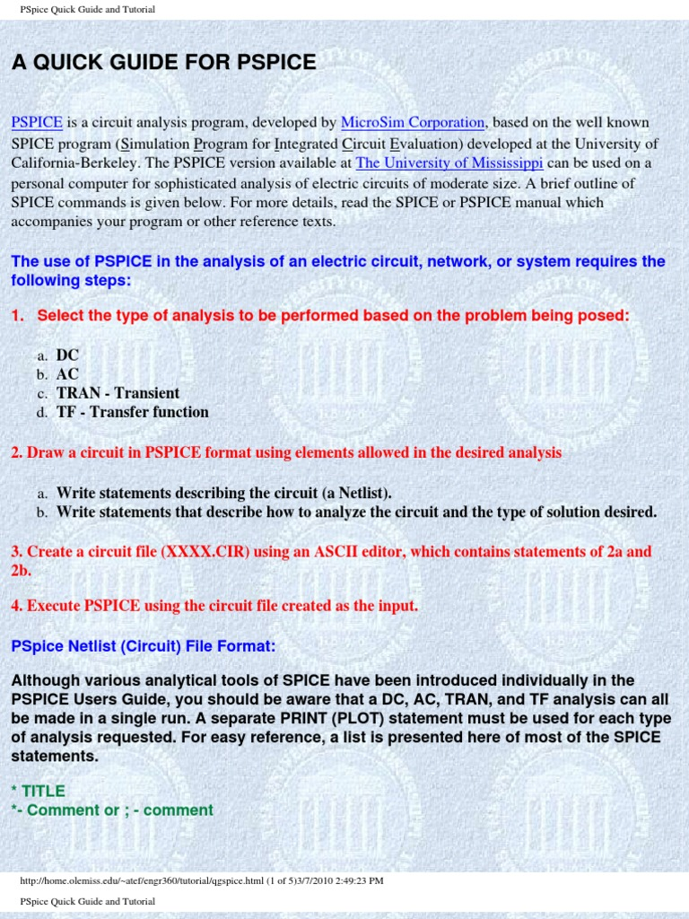 PSpice Quick Guide and Tutorial | Spice | Electrical Network