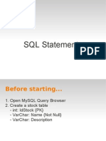 7. SQL Statements and Prepared Statements