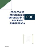 PROCESO DE ANTENCION DE ENFERMERÍA  EN PACIENTE EMBARAZADA