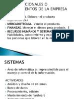 Areas Funcionales o Departamentos de La Empresa