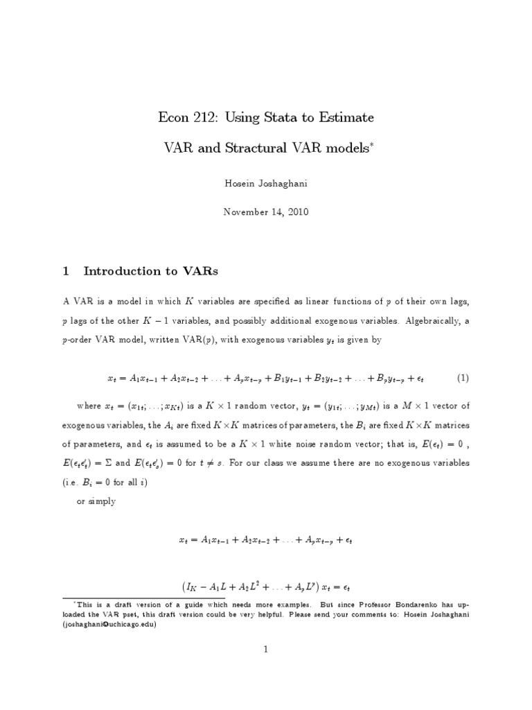VAR   Vector Autoregression   Statistical Analysis