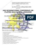 3rd International Conference on Filipino as Global Language - Call for Papers