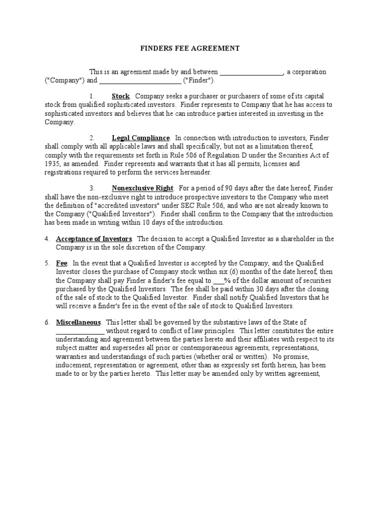 Pretty finders fee agreement template pictures inspiration finders fee agreement investor stocks platinumwayz