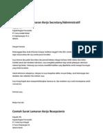Contoh-Contoh Surat Lamaran Kerja Atau CV