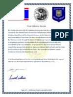 Final Delivery Decree