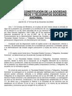 Ley 14 2000 de Constitucion de La s. e. Correos y Telegrafos
